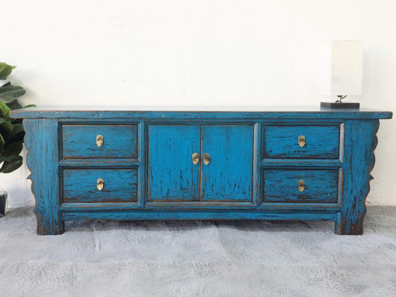 lowboard sideboard china blau kolonialstil